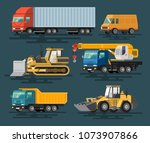 building machines set. flat... | Shutterstock .eps vector #1073907866