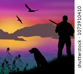 silhouette of a hunter with dog ... | Shutterstock .eps vector #1073910410