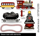 Vector Steam Trains With Wagon...