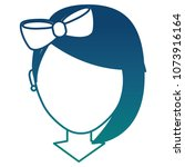 faceless girl with diadem bow... | Shutterstock .eps vector #1073916164