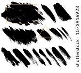 black brush strokes vector set... | Shutterstock .eps vector #1073916923