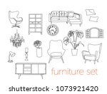 furniture collection. vector... | Shutterstock .eps vector #1073921420