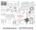 furniture collection. vector... | Shutterstock .eps vector #1073921423