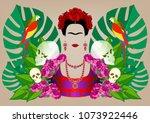 frida kahlo portrait with... | Shutterstock .eps vector #1073922446