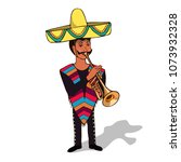 man in sombrero and poncho ... | Shutterstock .eps vector #1073932328