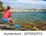 tourist woman in cadaques ...   Shutterstock . vector #1073932973