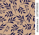 botanical pattern of leaves and ... | Shutterstock .eps vector #1073933333