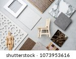 samples of material  wood   on... | Shutterstock . vector #1073953616