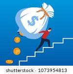businessman climbing a... | Shutterstock .eps vector #1073954813