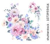 watercolor floral combination | Shutterstock . vector #1073955416