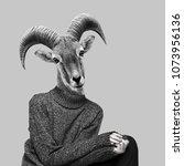 abstract art collage. big horn... | Shutterstock . vector #1073956136