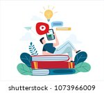 education online illustration... | Shutterstock .eps vector #1073966009