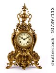 Antique Clock Isolated On Whit...