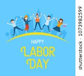 labor day banner  people with... | Shutterstock .eps vector #1073982599