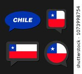 set of chile flag in dialogue... | Shutterstock .eps vector #1073998754