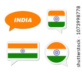 set of india flag in dialogue... | Shutterstock .eps vector #1073998778