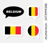 set of belgium flag in dialogue ... | Shutterstock .eps vector #1073999288