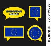 set of european union flag in... | Shutterstock .eps vector #1073999318
