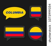 set of columbia flag in... | Shutterstock .eps vector #1073999354