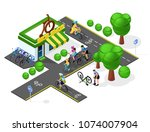 set of bicycle infrastructure.... | Shutterstock .eps vector #1074007904