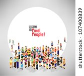 a large group of pixel people... | Shutterstock .eps vector #107400839