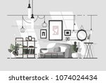 Cozy living room. Stylish interior with sofa. Vector illustration | Shutterstock vector #1074024434