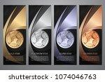 set of black banner  gold ... | Shutterstock .eps vector #1074046763