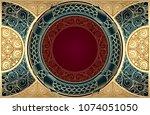 golden ornate art deco vintage...   Shutterstock .eps vector #1074051050