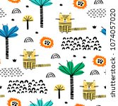 safari animals seamless pattern ... | Shutterstock .eps vector #1074057020