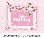 happy birthday vector card.... | Shutterstock .eps vector #1074059036