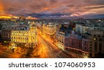 panorama top view of gran via ... | Shutterstock . vector #1074060953