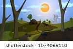 flat fantasy world vector... | Shutterstock .eps vector #1074066110