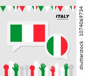 national celebration with italy ... | Shutterstock .eps vector #1074069734