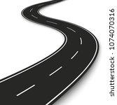 wavy road strip. highway strip... | Shutterstock . vector #1074070316