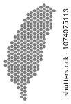 grey hexagonal taiwan island... | Shutterstock .eps vector #1074075113