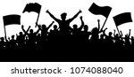 silhouette cheer crowd people.... | Shutterstock .eps vector #1074088040