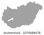 grey hexagonal hungary map....   Shutterstock .eps vector #1074088478