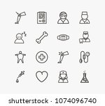 medical icon set and heart with ... | Shutterstock .eps vector #1074096740