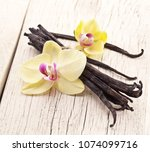 dried vanilla pods and orchid... | Shutterstock . vector #1074099716