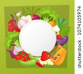 vegetables top view frame.... | Shutterstock . vector #1074105974