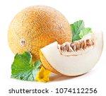 ripe melon and melon slice on... | Shutterstock . vector #1074112256