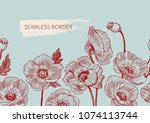 seamless border poppy flowers...   Shutterstock .eps vector #1074113744