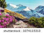 fantastic spring mountains... | Shutterstock . vector #1074115313