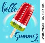 watermelon popsicle... | Shutterstock .eps vector #1074115406