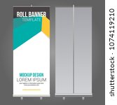 roll up banner abstract design... | Shutterstock .eps vector #1074119210