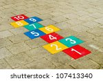 Colorful Hopscotch With Number...