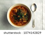 simple vegetable soup. european ... | Shutterstock . vector #1074142829