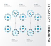 weather icons colored set with... | Shutterstock .eps vector #1074144764