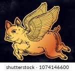flying winged pig. tattoo... | Shutterstock .eps vector #1074146600