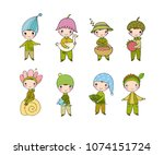 set with little cute gnomes.... | Shutterstock .eps vector #1074151724